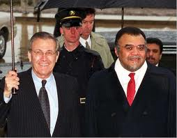 Image of Defense Sec. Rumsfeld and Prince Bandar